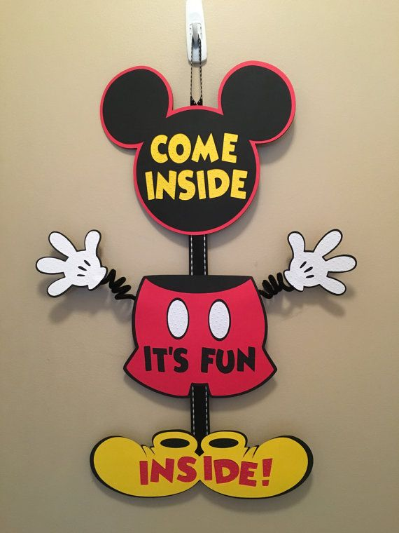 Mickey Mouse Party Door Sign Birthday by CutestBowsOnTheBlock