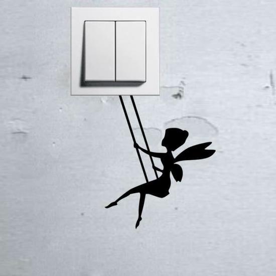 Noir commutateur autocollants stickers muraux Flower Fairy -1377 Fond d'écran  1.99€