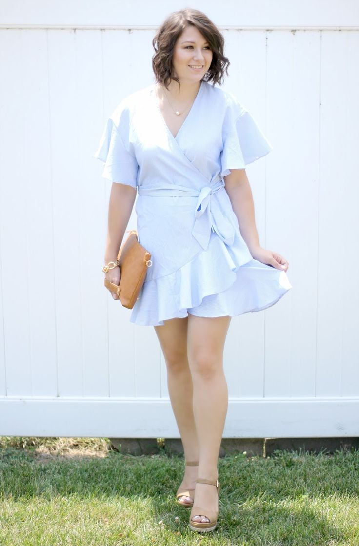 This gorgeous striped Light Blue Ruffle Wrap Dress is a summertime must have! I love the lightweight material and wrap style. It's also a perfect dupe for an identical Topshop dress but only $14!