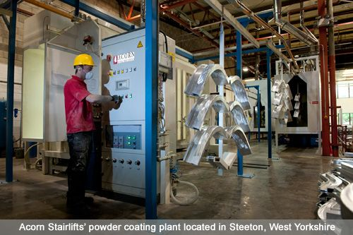 Acorn Stairlifts' powder coating plant located in Steeton, West Yorkshire