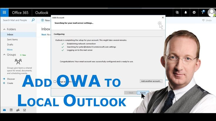 *Add an Office 365 mailbox to a local Outlook* Use your Office 365 mailbox in Outlook on your PC and work with e-mails even if you are not connected to the internet. Your local PC will synchronize with Office 365 once you are online again. http://www.kalmstrom.com/Tips/Office-365-Course/Set-Up-Outlook-With-Office-365.htm