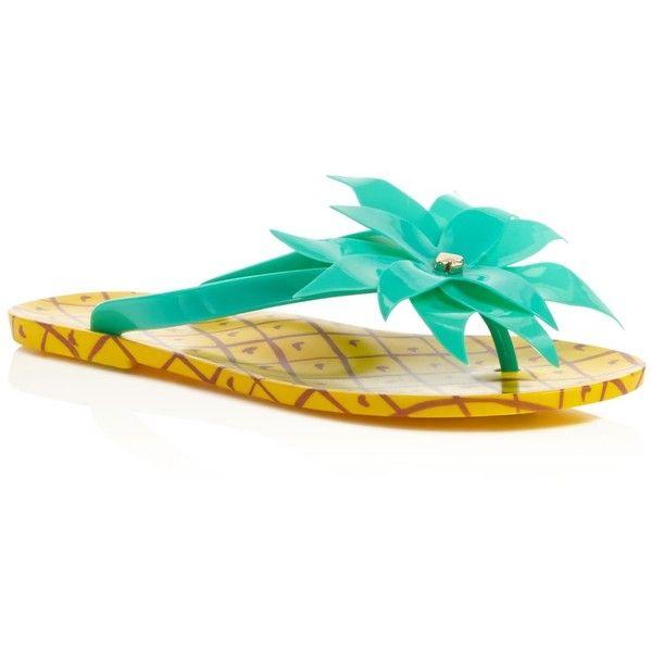 kate spade new york Flynn Pineapple Flip Flops (€60) ❤ liked on Polyvore featuring shoes, sandals, flip flops, green, embellished flats, decorating flip flops, flats sandals, beach sandals and green sandals