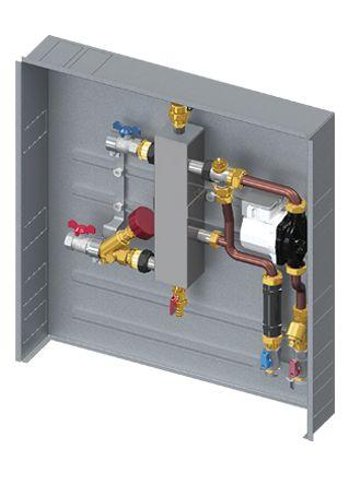CP-MONO è un sistema di contabilizzazione e gestione d'utenza monozona con separatore idraulico:  • Gestione d'utenza con circolatore  • Separatore idraulico con sfiato aria automatico e rubinetto di scarico  • Contabilizzatore di energia  • Collegamento uscita ACS e AFS con rubinetti a squadra  • Profondità cassetta 110 mm  (Dimensioni BxHxP 500x650x110 mm)  • Isolamento termico/acustico adatto per sistemi di riscaldamento e raffrescamento (su richiesta)