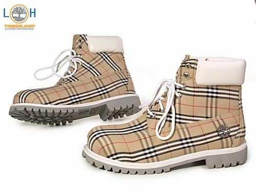 Cheap Men's Timberland Custom Boots in Grey White with Burberry Plaid
