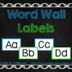 FREE Word wall labels in a clean, simple blue and green color theme.