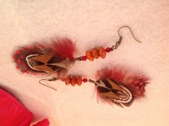 Red feather earring with orange turquoise stone by TwistedBobbin