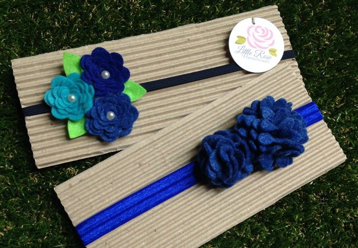 Set 2 Fasce elastiche per capelli in tono Blue by Little Rose Handmade, by Romanticards e Little Rose Handmade, 11,00 € su misshobby.com