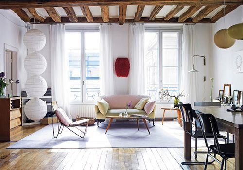 beams, floors, windows, neutral colors: Decor, Living Rooms, Idea, Paris Apartments, Interiors, Livingroom, Space, Design