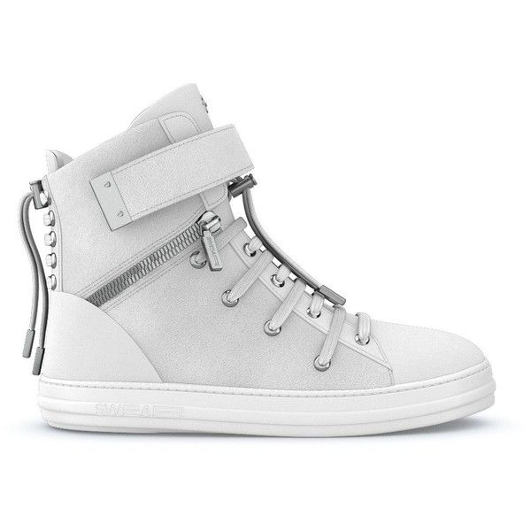 Swear Regent sneakers (1,195 CAD) ❤ liked on Polyvore featuring men's fashion, men's shoes, men's sneakers, white, crocs mens shoes, mens white shoes, mens high top sneakers, mens white high top sneakers and mens lace up shoes
