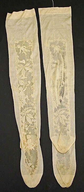 Французские шелковые чулки с кружевными вставками херувим ок 1900 Эванджелин
