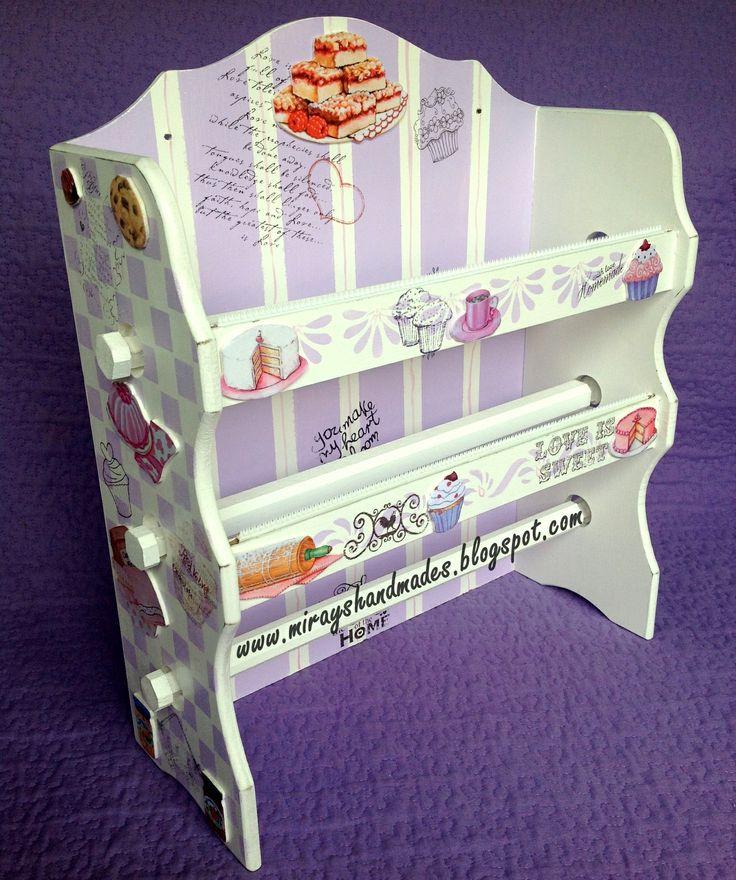 PVC STRECHFILM-ALUMINIUM-PAPER TOWELS THRD. SET - Hand Paint (This is Originally made by Mirayshandmades - Miray Yildizli Taskiran From Turkey) mirayshandmades@gmail.com