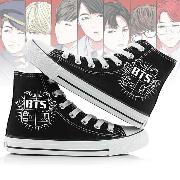Fanstown Kpop Sneakers Canvas Shoes Womens Size Black Fanshion Memeber Hiphop Style Fan Support with lomo Card