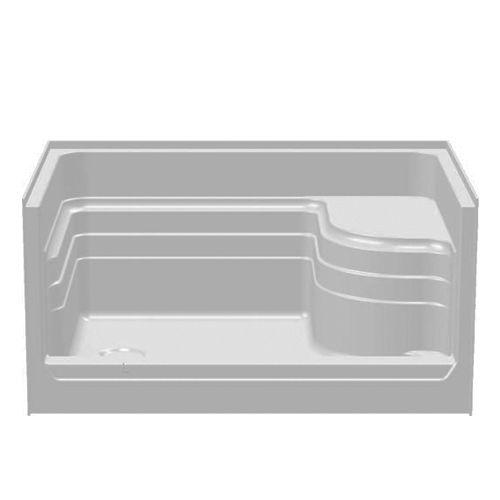 "Shower Pan Sizes | 48"" One Seat Fiberglass Shower Pan"