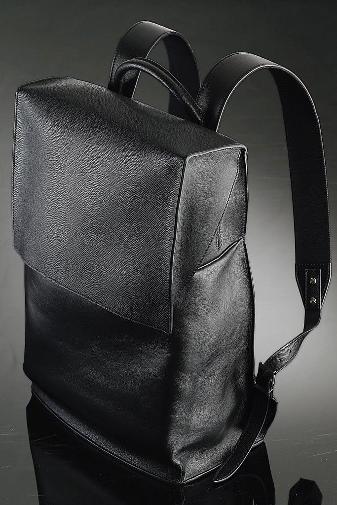 "Balenciaga's black leather backpack for ""A New York Holiday."" [Photo by George Chinsee]"