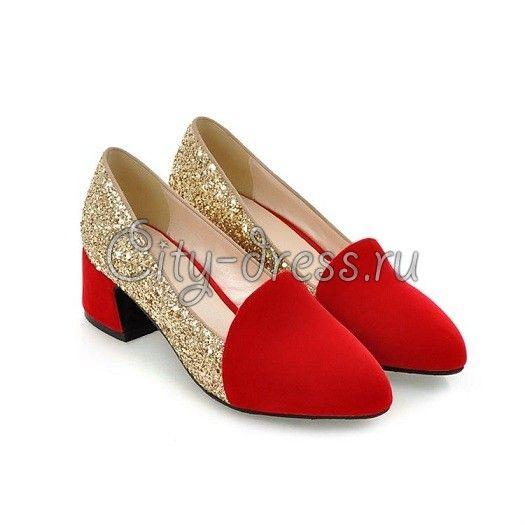 элегантные красные туфли на низком каблуке с блестками - Туфли ...