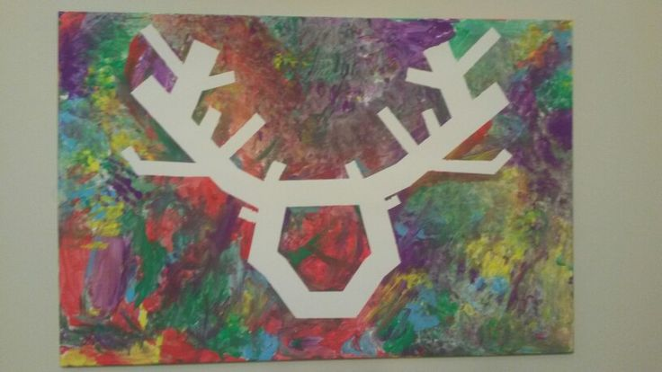 Kids room wall art. Tape the deer and let your kids paint away...take tape off and wallah!