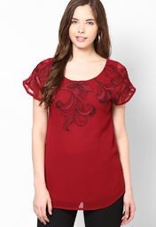 Short Sleeve Red Embroidered Top