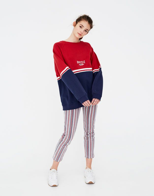 Sweatshirt with two-tone panels - Paradise League - Clothing - Woman -  PULL BEAR Taiwan d69b26283