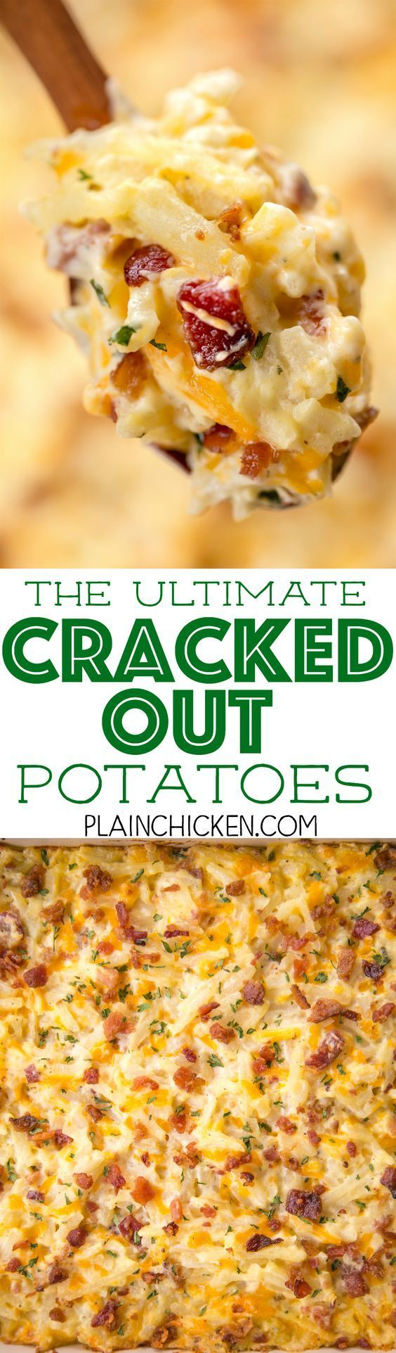 THE ULTIMATE Cracked Out Potatoes - cheddar, bacon and ranch. SO addictive!! I could make a meal out of this potato casserole!! Cheddar, bacon, ranch, cream of chicken soup. sour cream, frozen shredded hash browns. Can freeze for later. We usually bake half and freeze half for later. SO GOOD!