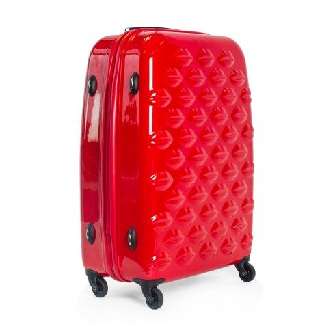 Red Hard Sided Lips Medium Spinner Case | Hard Sided Luggage | Luggage | Lulu Guinness | Lulu Guinness