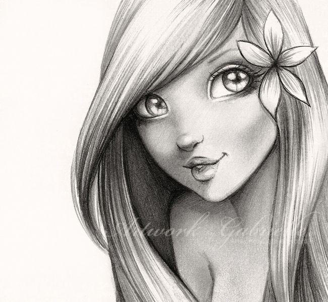 "Cute Girl with Flower, drawing. Mermaid / Ragazza carina con fiore, disegno. Sirenetta - ""Ariel"", Artwork by Gabrielle (Art by gabbyd70 on deviantART)"