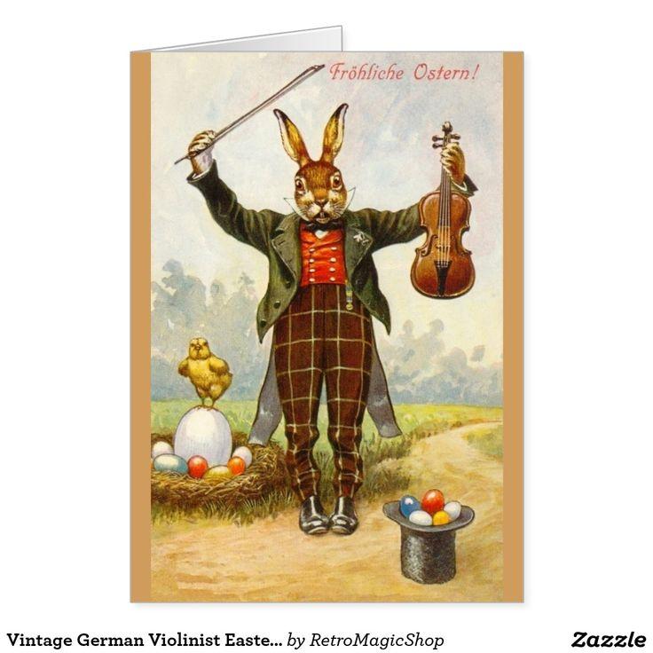 Vintage German Violinist Easter Greeting Card