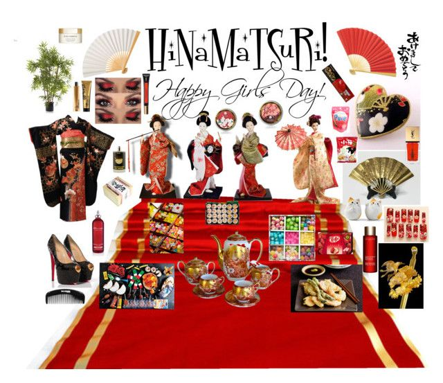 """""""HiNaMaTSuRi - Happy Girls Day!"""" by blayze808 on Polyvore featuring Cultural Intrigue, MML, Christian Louboutin, EMAC & LAWTON, Elemis, Dolce&Gabbana, Yves Saint Laurent and Clarins"""