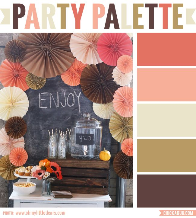 """This is just anabsolutely perfect color palette for a sophisticated fall party! Instead of bright orange, there are pretty shades of brown, peach, and even a bit of coral.It absolutely screams """"fall"""" without using a single leaf (and only the tiniest of pumpkins). Really lovely. Photo:Oh My Little Dears Check out more """"Party Palettes"""" (color palettes to inspire your party planning)here. You can also follow my special """"Party Palettes""""Pinterest board."""