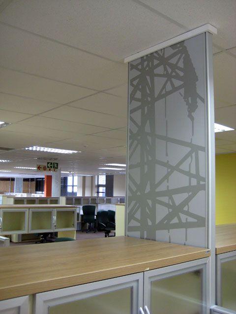 Desk based screen power panels with vinyl decor.