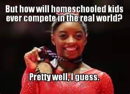 Simone Biles -because we spend time around many different ages and types of people. I don't know why people think that a classroom full of same-age kids is preparation for the real world?-
