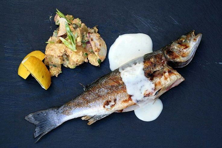 Grilled seabass with creamy lemongrass sauce and potato salad wtih fresh and dry onion and mayonnaise sauce with sweet paprika. Paparouna Wine Restaurant & Cocktail Bar | Sunday cooking...