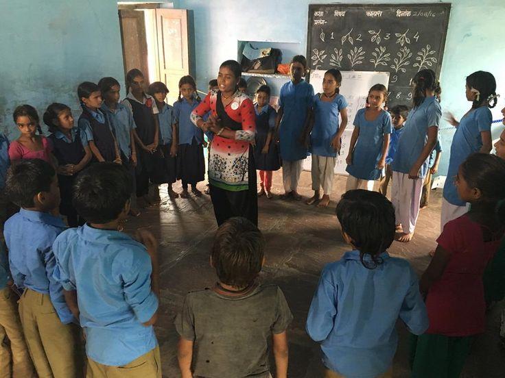 Shanti teaching the school chidlren