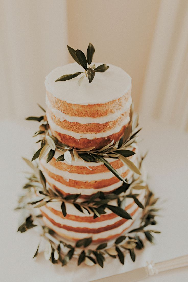 Olive branch decorated naked cake by San Diego wedding florist, Compass Floral.