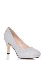 Womens *Quiz Silver Glitter Mid Heel Court Shoes- Silver
