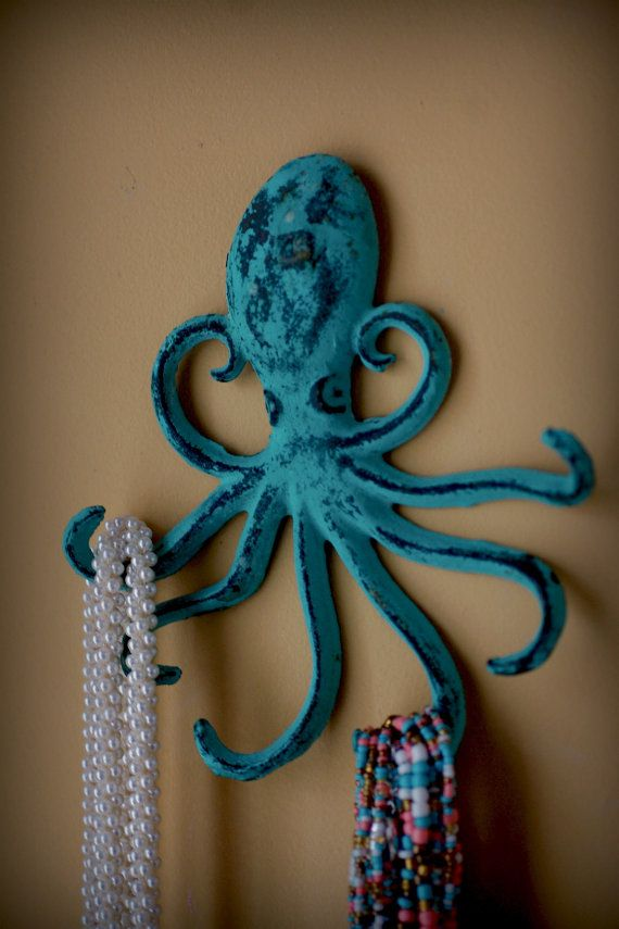 Cast Iron Octopus Hook  - Jewelry Holder - Key Holder - Blue/Green Patina