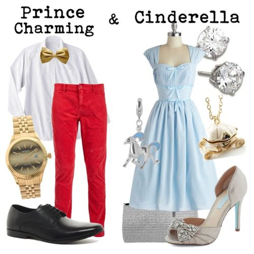 Couple outfits inspired by Prince Charming and Cinderella!