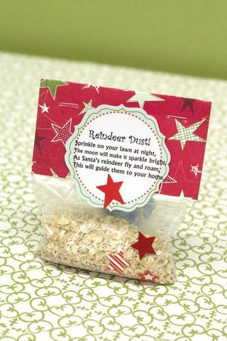 Reindeer Dust for kids to sprinkle on their lawn on Christmas Eve before they go to bed.  I love Ideas that add to the fun of the holidays!  Or how about putting it in the invitation box for a reindeer party so kids can sprinkle it when they arrive at the party?