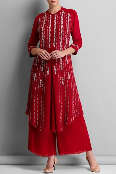 Kurtas and Sets, Clothing, Carma, Red embroidered tunic ,  ,  ,  ,  ,  ,  ,  ,  ,  ,  ,  ,  ,  ,