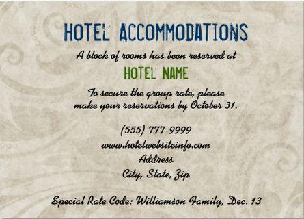Hotel block wording for enclosure card