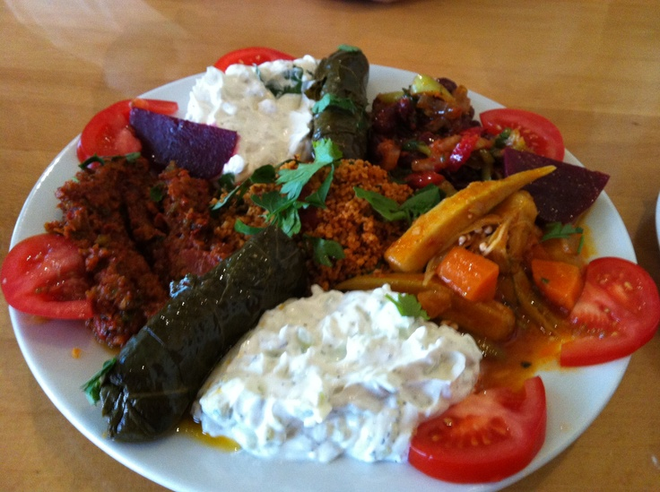 Turkish mezze, today's lunch at a small, family-owned restaurant in Hamburg.