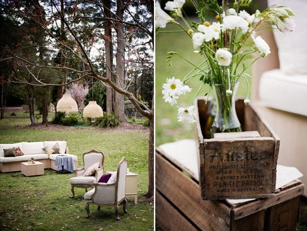 Outdoor seating areas at wedding reception and I love these crates!