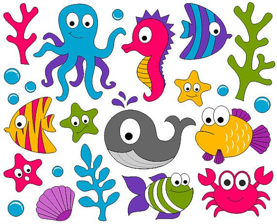 Under The Sea Clip Art - Ocean Digital ClipArt - Fishes, Whale, Crab, Seahorse - Instant Download Clipart