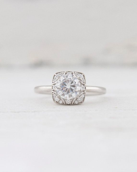 New Forever One Moissanite and Diamond Square Decorative Halo Setting Engagement Ring 14K White Yellow Rose Gold Bridal Jewelry