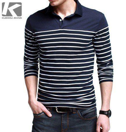 Hot!!! 100% Cotton Men Polo Shirts Fashion Classic Stripe Turn-Down Collar Slim Long-Sleeve Men's Shirt Free Shipping
