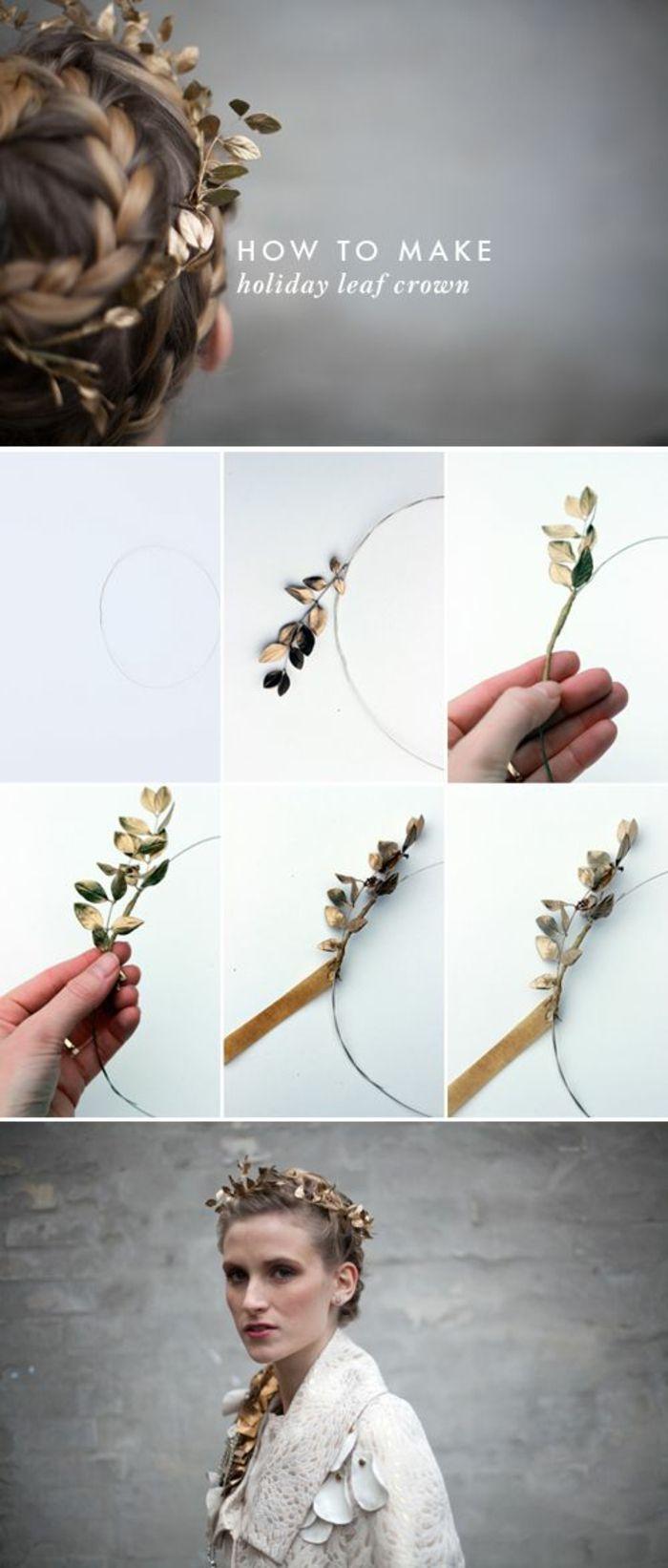 basteln mit naturmaterialien, kranz, krone aus goldenen baumblättern machen, frau, kopfschmuck (Cool Crafts Holidays)
