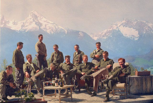 Dick Winters and his Easy Company (HBO's Band of Brothers) lounging at Eagle's Nest, Hitler's (former) residence.