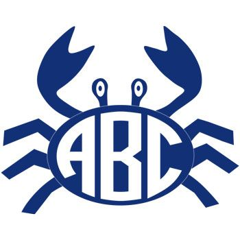 Crab Monogram Decal with Circle Font - Multiple Colors
