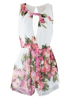 Shop White Floral Print Sleeveless Romper Playsuit from choies.com .Free shipping Worldwide.$23.99
