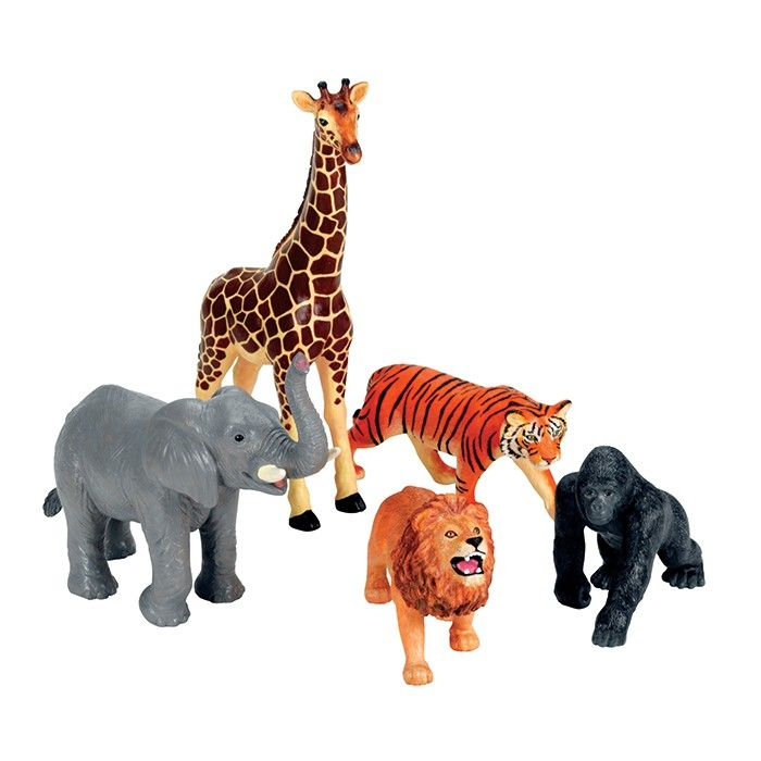 Take imaginative play all the way to the jungle with this set of five popular animals includes: Lion, Tiger, Gorilla, Elephant and Giraffe.