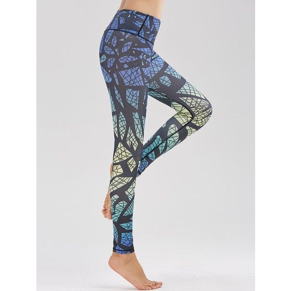 Pattern High Waist Funky Gym Leggings (16 CAD) ❤ liked on Polyvore featuring pants, leggings, high waisted leggings, print leggings, blue print leggings, high-waisted leggings and legging pants